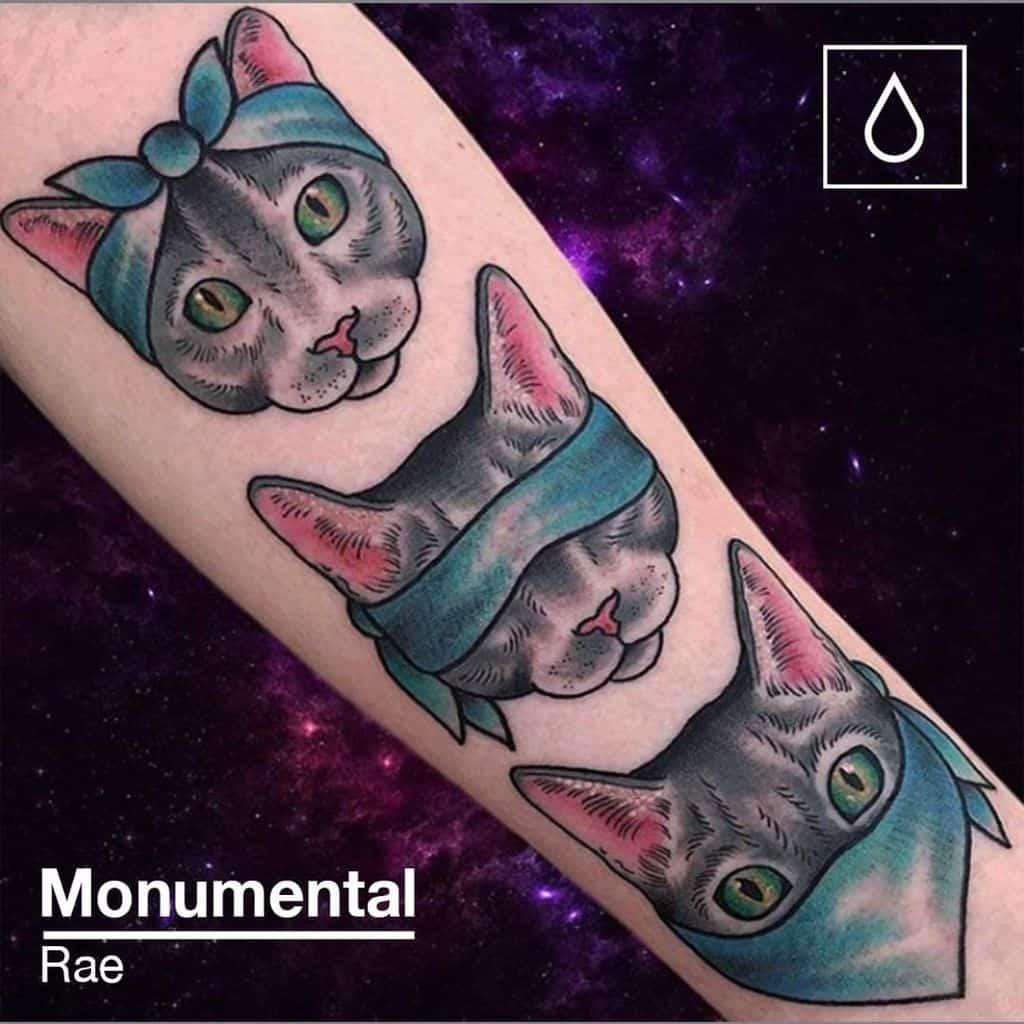 aquarelle colorée entendre aucun mal voir aucun mal parler aucun mal tatouages monumentalink