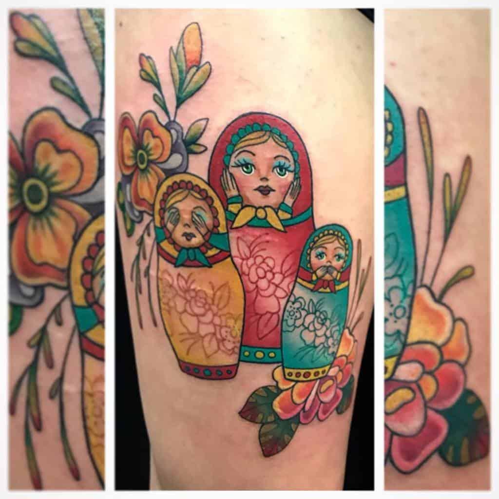 Aquarelle colorée Entendre Pas de mal Voir Pas de mal Parler Pas de mal Tatouages Melissa Daye