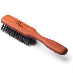 ZilberHaar Poils de sanglier purs Poils de porc fermes naturels et brosse à barbe en bois de poirier