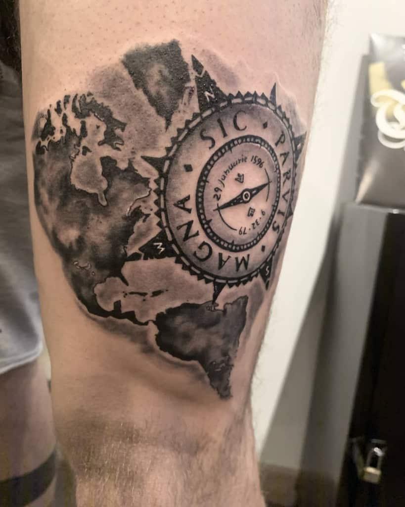 Tatouages Compass Sic Parvis Magna Blerina Banushaj