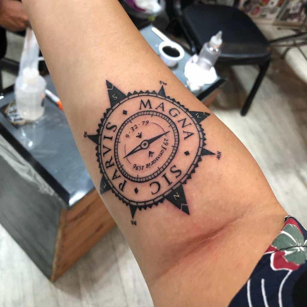 Compass Sic Parvis Magna Tattoos Busu.kawaii