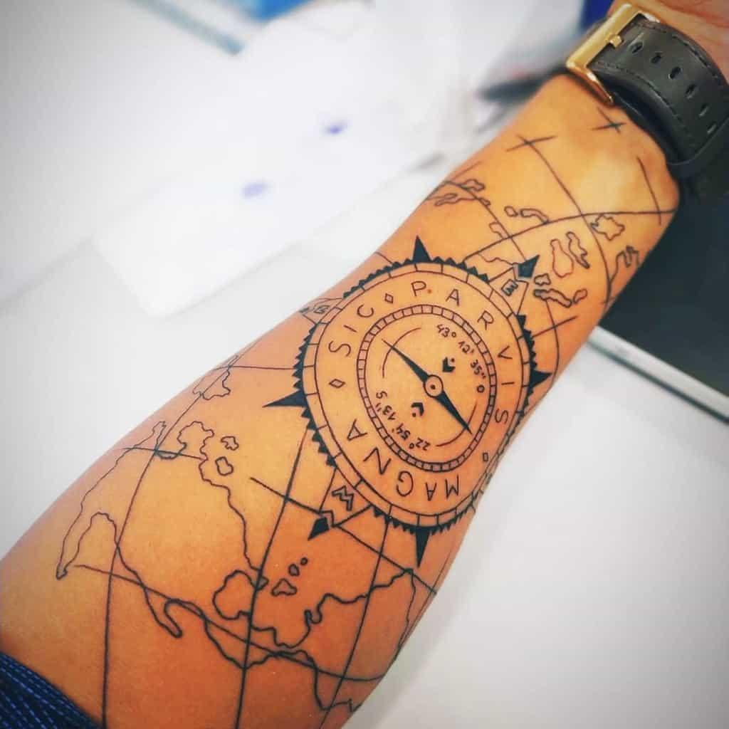 Tatouages Compass Sic Parvis Magna Ailtonsampaiojr