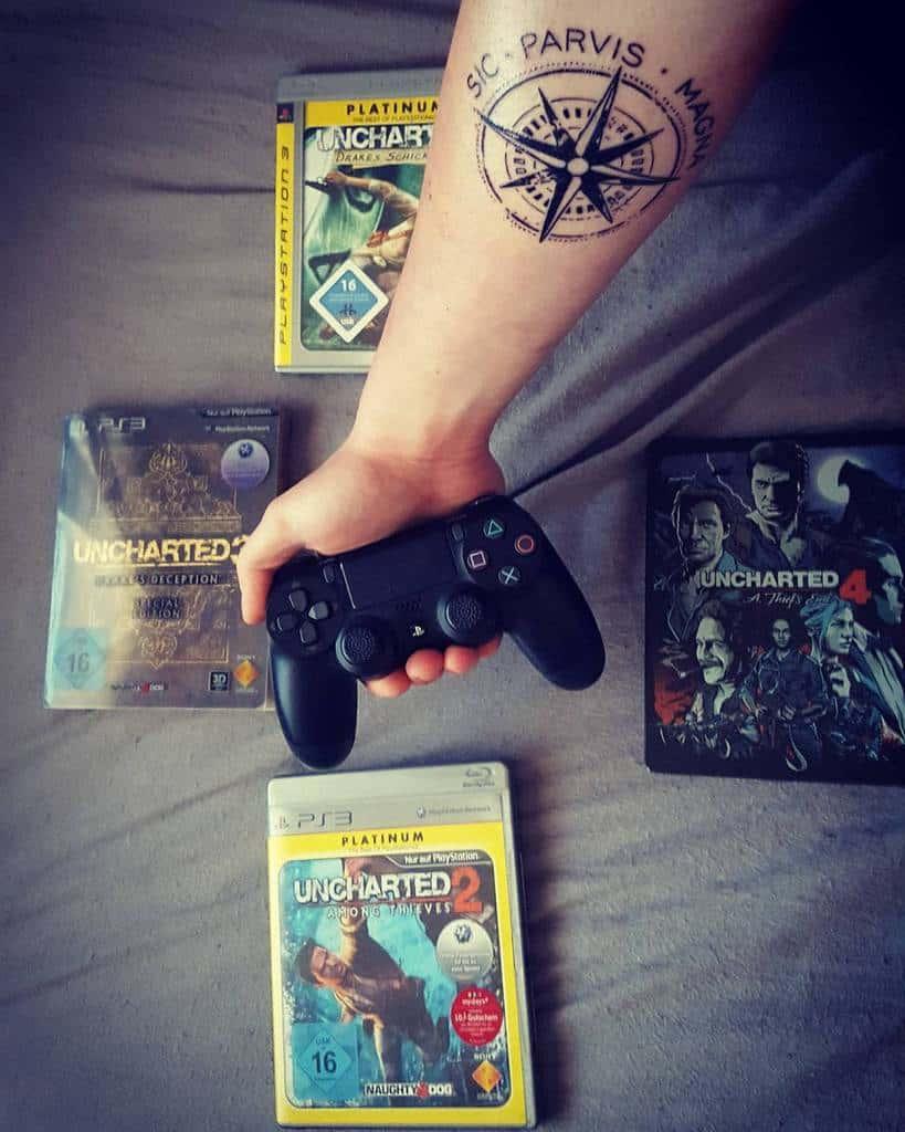 Compass Sic Parvis Magna Tattoos Noobfishgamer