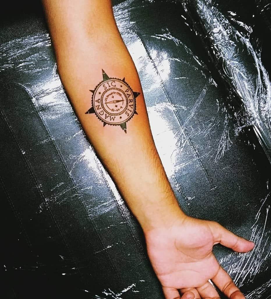 Tatouages Compass Sic Parvis Magna Sixxoficial