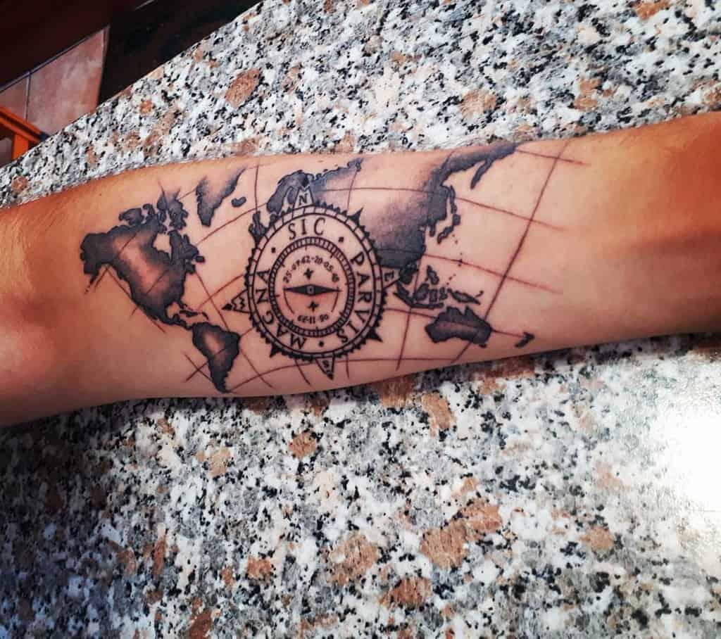 Compass Sic Parvis Magna Tattoos Yariservidio