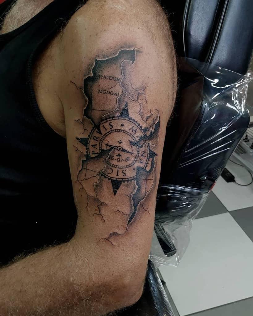 Tatouages Compass Sic Parvis Magna Tatouages Orlando