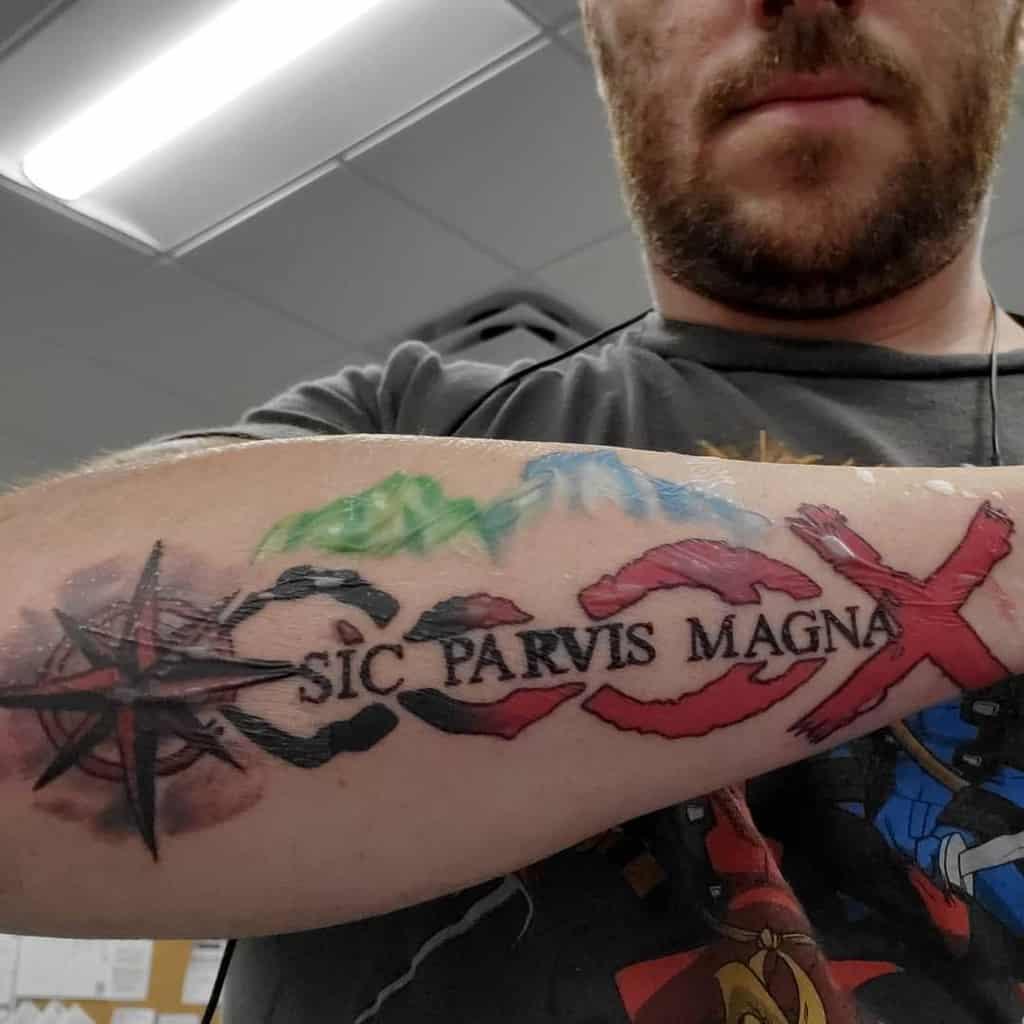 Aquarelle Tatouages Sic Parvis Magna Tatouages Anthonyphoenixcreations
