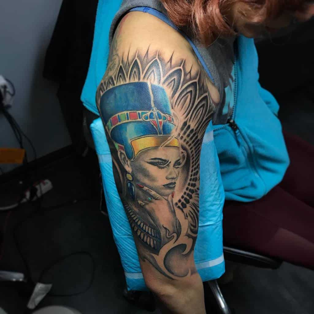 Tatouages de manches Nefertiti Tatouages par Yulia