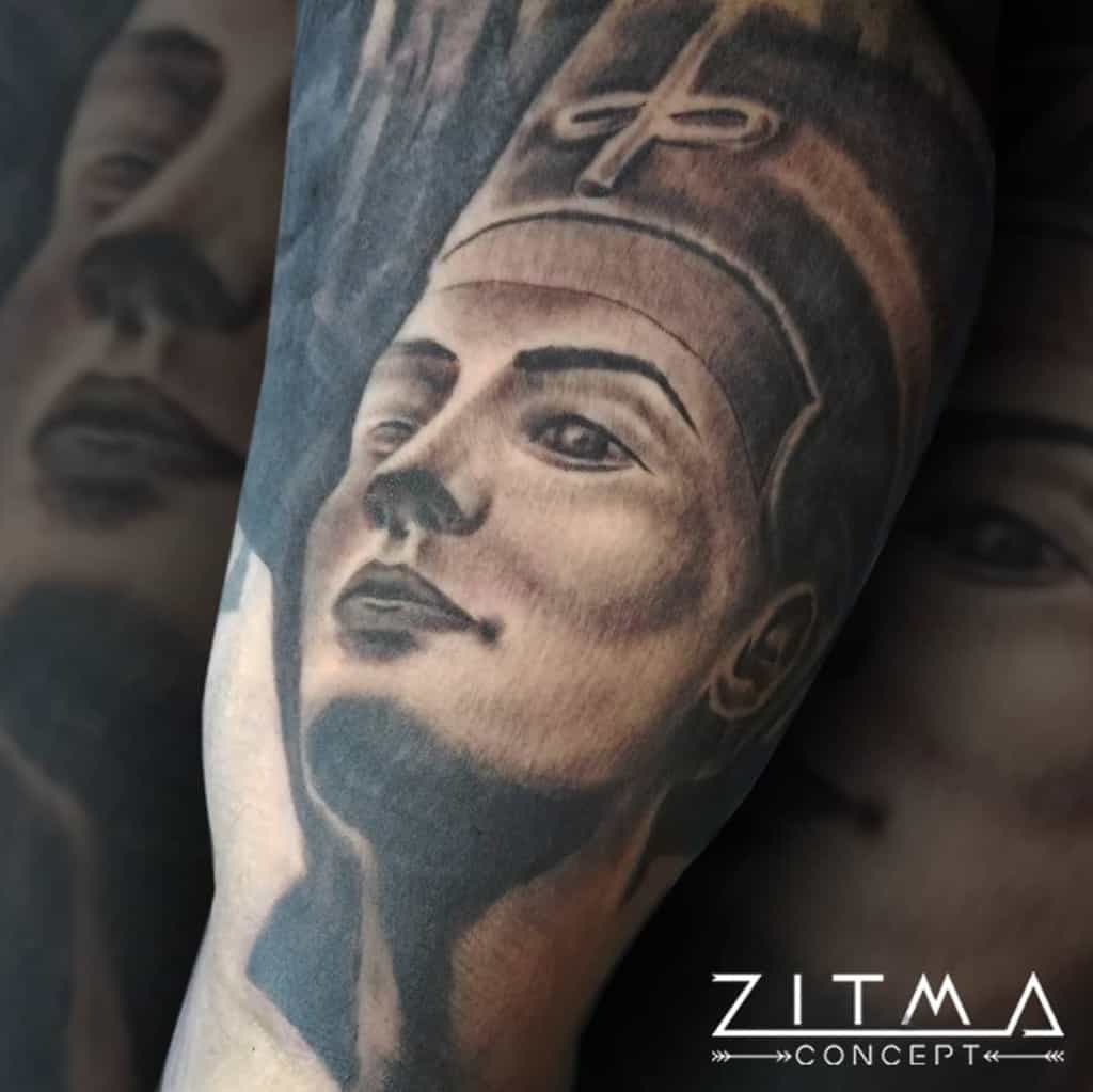 Tatouages ombragés de Néfertiti Zitmaconcept