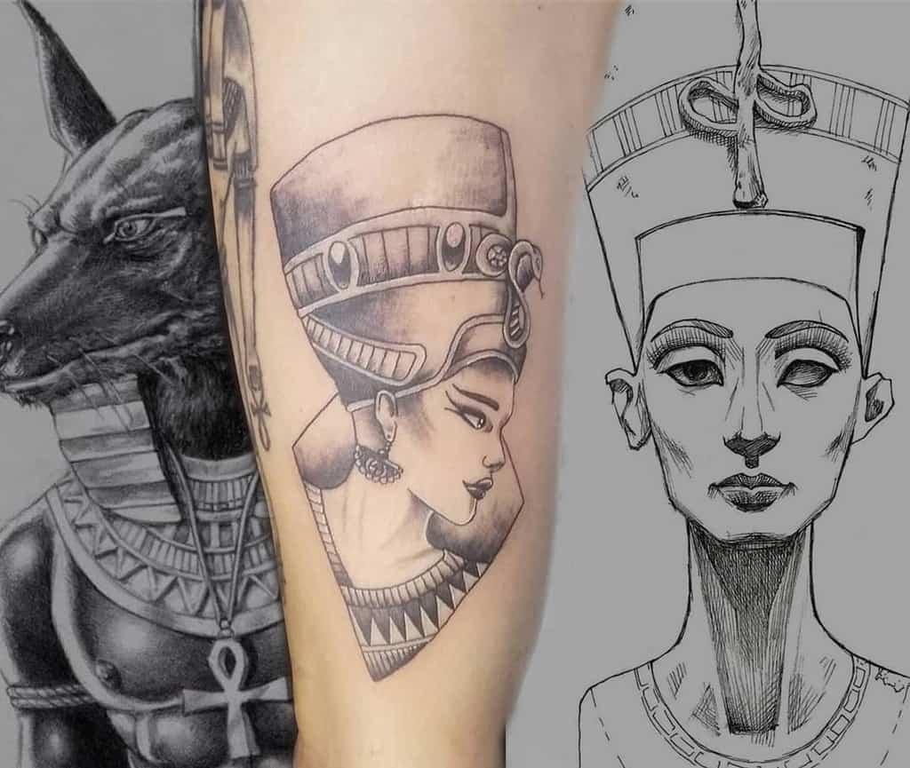 Tatouages simples de Nefertiti Eldiabloinktattoo