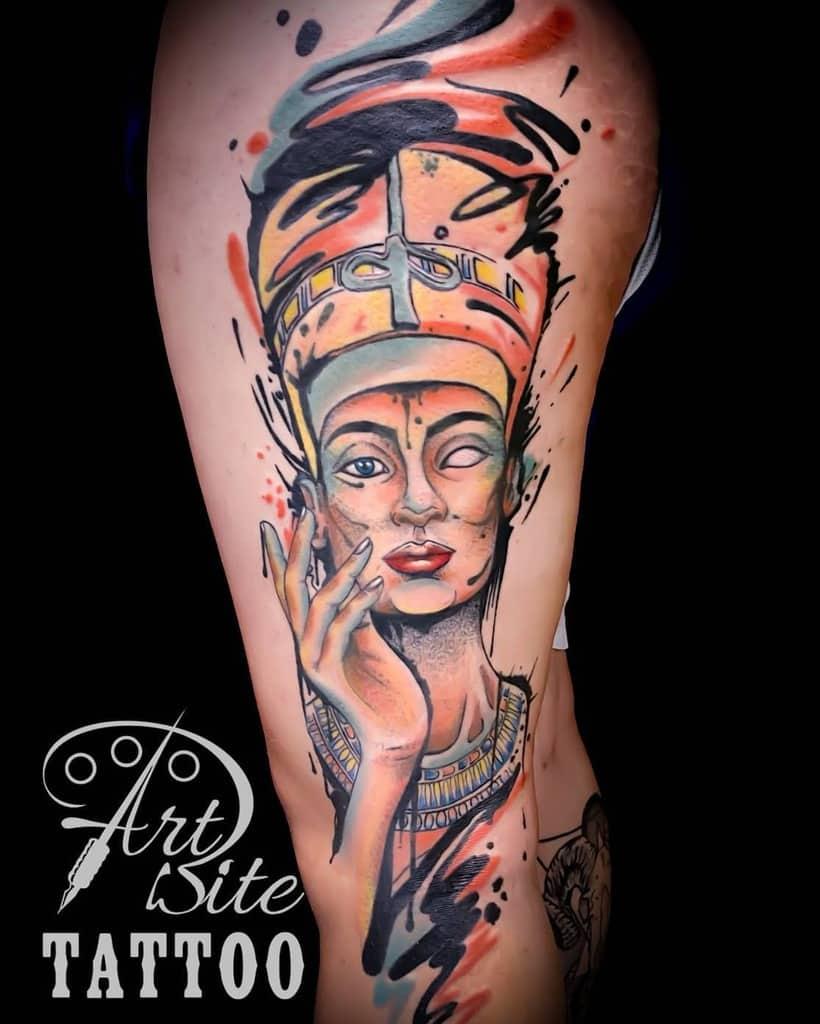Aquarelle Tatouages Néfertiti Artbitetattoo
