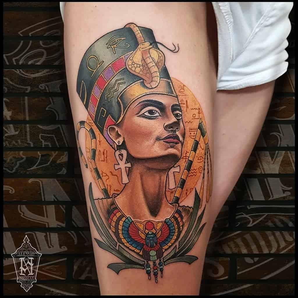 Tatouages de Néfertiti à l'aquarelle Artiste alexandrin