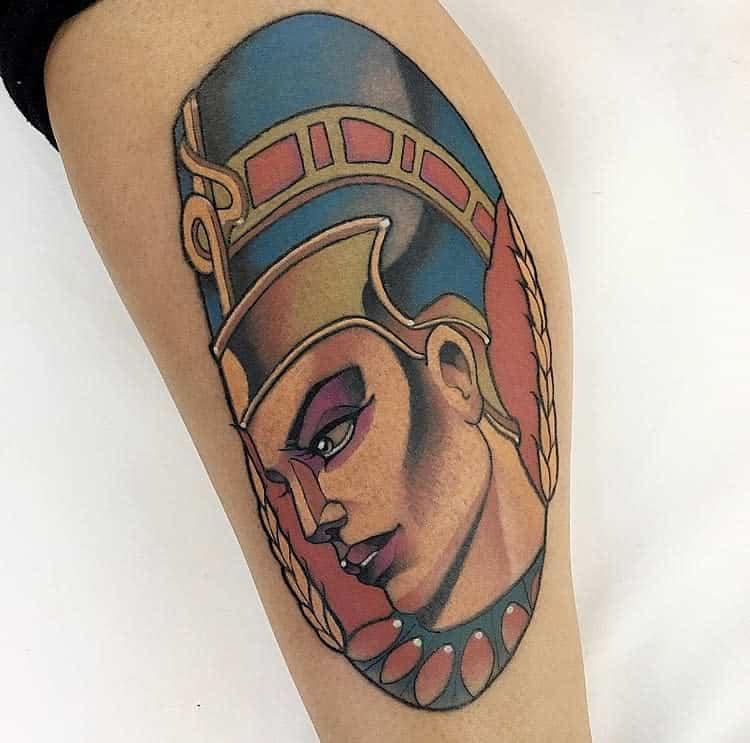 Tatouages Néfertiti à l'aquarelle Marciomumiatattoo