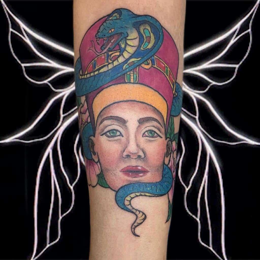 Tatouages Néfertiti à l'aquarelle Inkystinkyray