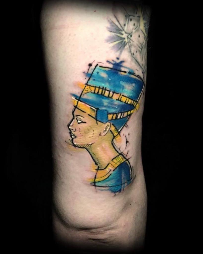 Tatouages Nefertiti à l'aquarelle Tatouages Mentalitytattooshop