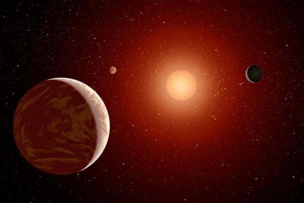 Ce concept d'artiste illustre une jeune étoile naine rouge entourée de trois planètes. Ces étoiles sont plus faibles et plus petites que les étoiles jaunes comme notre soleil, ce qui en fait des cibles idéales pour les astronomes qui souhaitent prendre des images de planètes en dehors de notre système solaire. (NASA/JPL-Caltech)