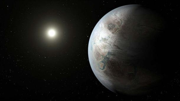 Un concept d'artiste représentant une apparition possible de la planète Kepler-452b, le premier monde de taille proche de la Terre à se trouver dans la zone habitable d'une étoile similaire à notre soleil. (Domaine public)