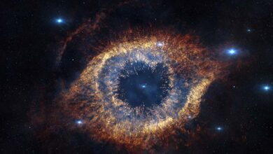 """ESO's Visible and Infrared Survey Telescope for Astronomy (VISTA) has captured this unusual view of the Helix Nebula (NGC 7293), a planetary nebula located 700 light-years away. The Helix Nebula is sometimes called the """"Eye of God."""""""