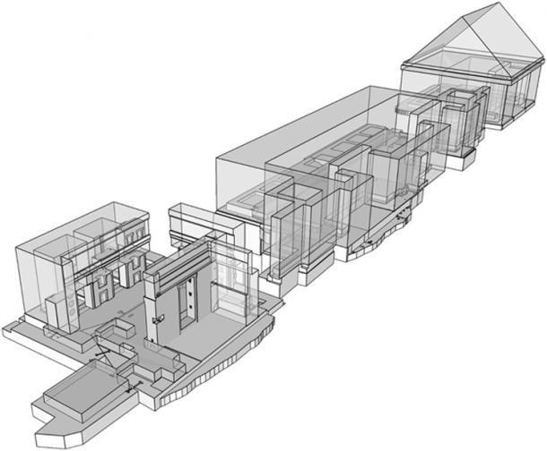 Reconstruction virtuelle de l'ensemble du bâtiment de l'andésite. (© Alexei Vranich, Heritage Science/CC BY 4.0)