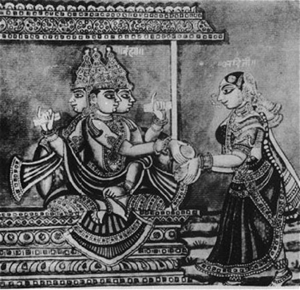 Le seigneur Brahma et Adhiti, mère des dieux. (Domaine public)