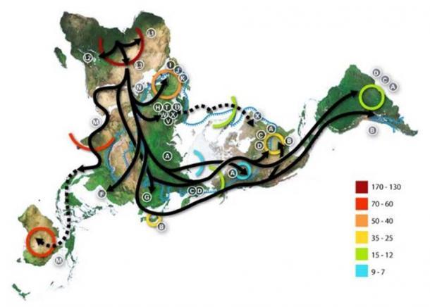 Carte de la migration des haplotypes humains, selon l'ADN mitochondrial, avec une clé (colorée) indiquant les périodes en milliers d'années avant le présent. (CC BY SA 3.0)
