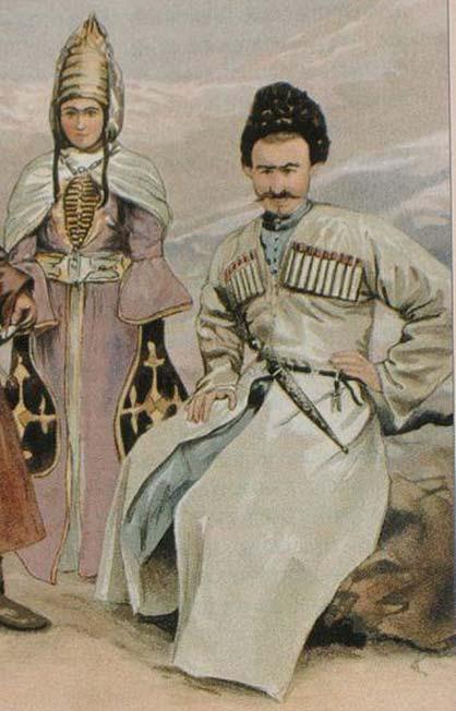 Robe traditionnelle tchétchène. (Domaine public) Les Tchétchènes du Caucase présentent un pourcentage élevé d'haplogroupe J.