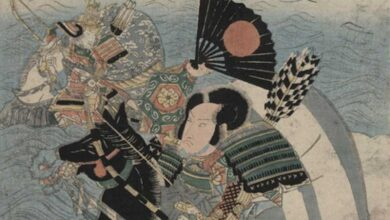 Detail of 'The warriors Kumagai Naozane and Taira no Atsumori.' One of the warriors is brandishing a Japanese war fan called a Tessen.