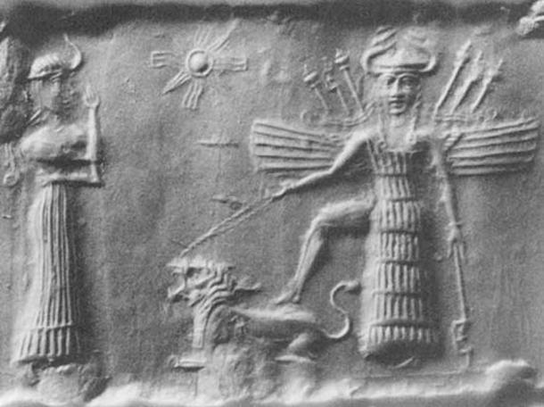 Ancien sceau cylindrique akkadien représentant Inanna, déesse de l'amour mésopotamienne. (Domaine public)