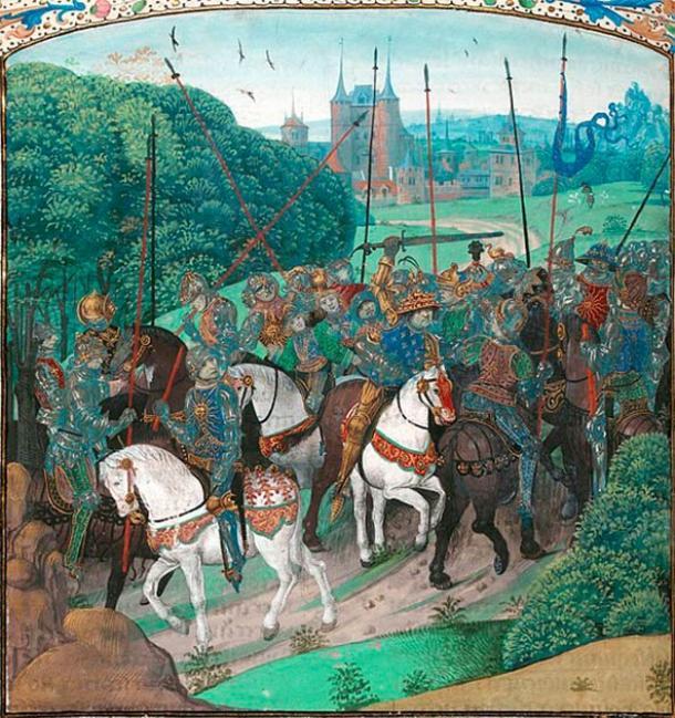 Catherine de Valois n'a pas eu une enfance heureuse. Son père, Charles VI, a souffert de crises de folie tristement célèbres. Un de ces épisodes se produisit lors de la traversée de la forêt du Mans au cours d'une expédition, lorsque le Charles prit les membres de sa suite pour des ennemis et les attacha. Image tirée des Chroniques de Froissart du XVe siècle. (Domaine public)