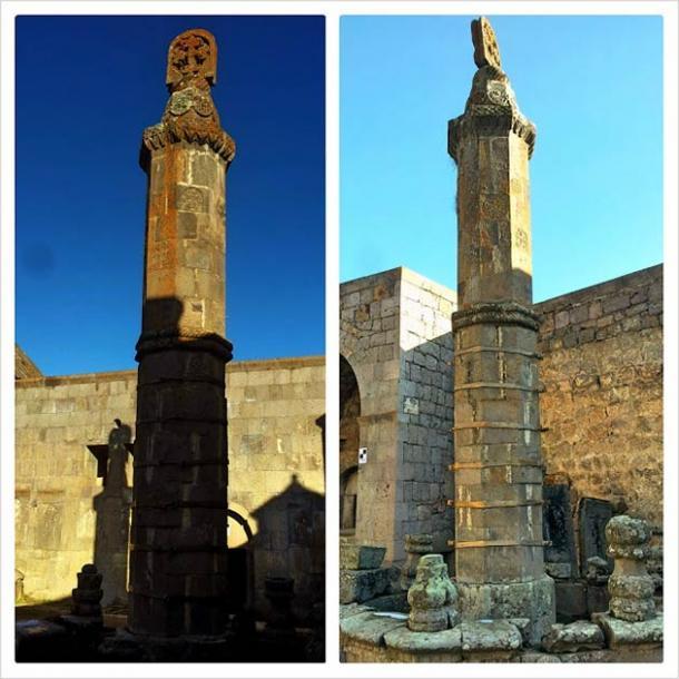 La colonne sismographique de Gavazan au monastère de Tatev (Black Dog Bicycling)
