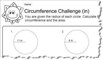 Feuilles de travail sur la circonférence avec réponses