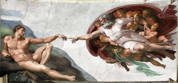 La Création d'Adam est une fresque peinte par Michel-Ange, l'œuvre commencée en 1508 et terminée en 1512, elle apparaît sur le plafond de la Chapelle Sixtine. Elle illustre l'histoire biblique du livre de la Genèse dans laquelle Dieu le Père insuffle la vie à Adam, le premier homme. (CC0)