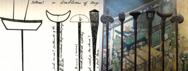 C'est vrai : Symboles béothuks sur les poteaux, île de Terre-Neuve. A gauche : Symboles sur les poteaux. Musée confucianiste. Pékin
