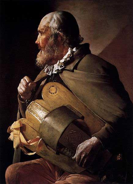 Un joueur de vielle à roue. Musicien aveugle de Georges de la tour, XVIIe siècle.