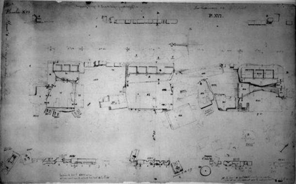 Dessin de 1848 par Leonce Angrand des dalles de grès. Remarquez les contours géométriques sculptés dans les dalles qui servaient autrefois à l'architecture debout. (Source de l'image : Heritage Science)