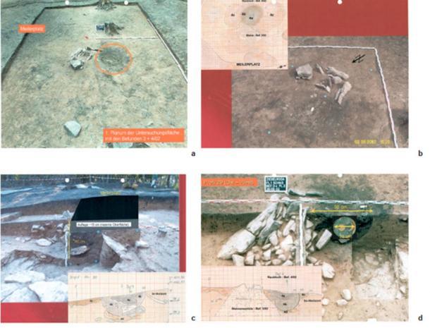 Excavation d'une fosse de pilleurs sur le Mittelberg, près du Nebra. Documents à présenter à l'audience du tribunal (expertise immobilière Josef Riederer, Archiv Archäologische Staatssammlung Munich). a) Zone d'investigation creusée dans le premier planum. Sur le bord de coupe, on reconnaît la couche d'humus d'environ 15 cm d'épaisseur. b) Détail du planum. La fosse des pilleurs est clairement délimitée comme une zone perturbée limitée dans un contexte de découverte. c) Représentation de la surface récente au-dessus de la découverte. d) Projection du disque céleste dans le point le plus profond du contexte de découverte sans tenir compte de l'humus de soutien, dans lequel selon les découvreurs la partie supérieure du disque a été localisée. (Archäologische Informationen)