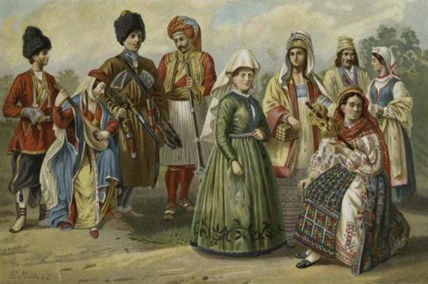 Les types d'Aryens de l'Ouest de l'Europe de l'Est et du Nord. Dans l'image : Géorgiens, Ossette, Albanais, Femme d'Islande, Russe de Rjasan, Roumaine, Polonais de Radom. (Domaine public)