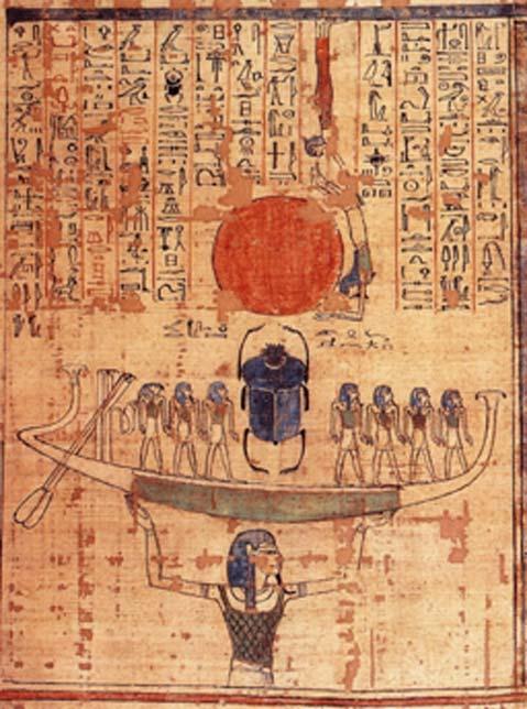 Nun, dieu des eaux du chaos, soulève la barque de Rê dans le ciel au début des temps. (A. Perroquet / Domaine public)