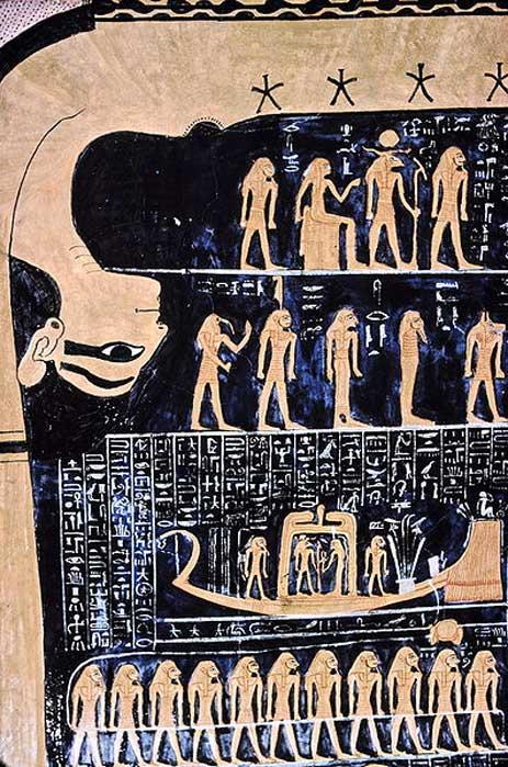 Nout, déesse égyptienne du ciel dans le tombeau de Ramsès VI