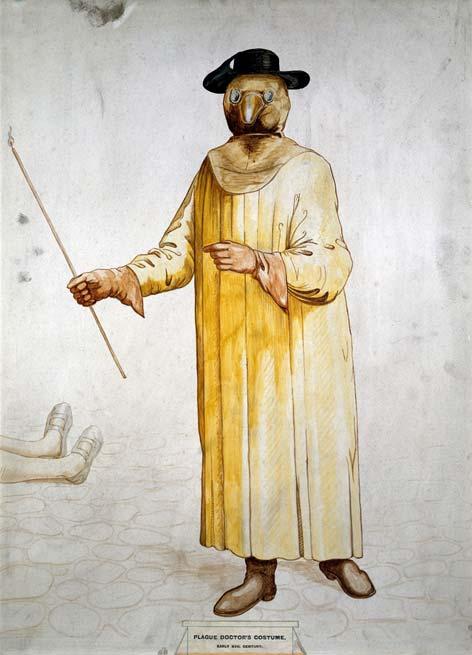 Un médecin portant un costume de prévention de la peste du XVIIe siècle.