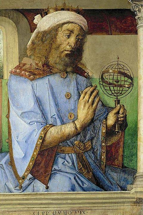 Ptolémée avec un modèle de sphère armillaire. (1476) Joos van Gent et Pedro Berruguete.