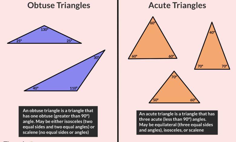 Types de triangles : Aigu et obtus