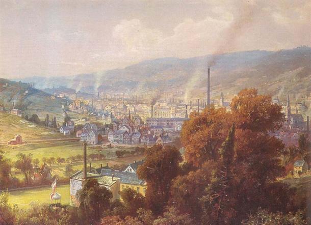 Ville industrialisée en Allemagne, vers 1870. (Domaine public)