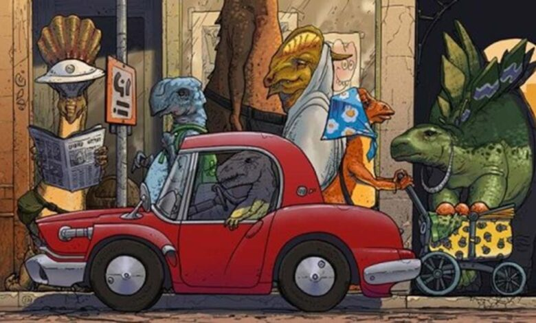 Comic illustration of previous industrial civilizations on Earth.