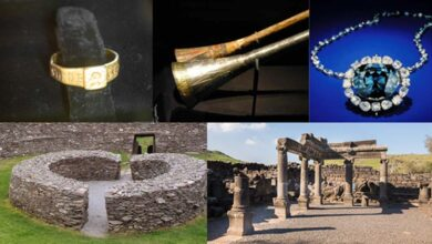 """Some unlucky artifacts and cursed sites: The Ring of Silvianus (CC BY 2.0), Tutankhamun's silver trumpet with wooden insert (Meridianos), the Hope Diamond (CC BY-SA 4.0), Stone ringfort, """"Ring of Kerry"""" in Ireland (Francis Bijl/ CC BY 2.0 ), and ruins of an ancient synagogue at Chorazin. (Lev.Tsimbler/CC BY SA 4.0)"""