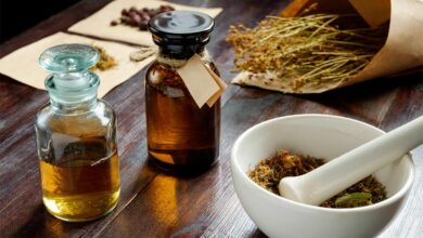 Apothecary vintage set of bottles, herbs and mortar Source: Kiryl Lis/ Adobe Stock