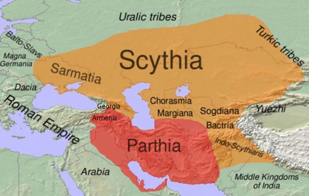 Étendue approximative de la Scythie dans l'aire de répartition des langues orientales iraniennes (en orange) au 1er siècle avant J.-C. J.-C. (CC BY-SA 3.0)
