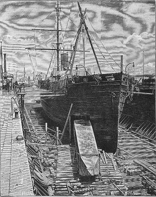 Mise en place de l'obélisque à aiguilles de Cléopâtre dans la cale du navire à vapeur Dessoug, en route pour Central Park à New York, 1880. (Domaine public)