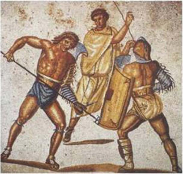 Un gladiateur retiarius poignarde son second adversaire avec son trident. Mosaïque de la villa de Nennig, IIe-IIIe siècle après J.-C. (domaine public)
