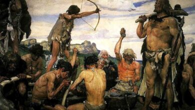 Painting 'The Stone Age.'